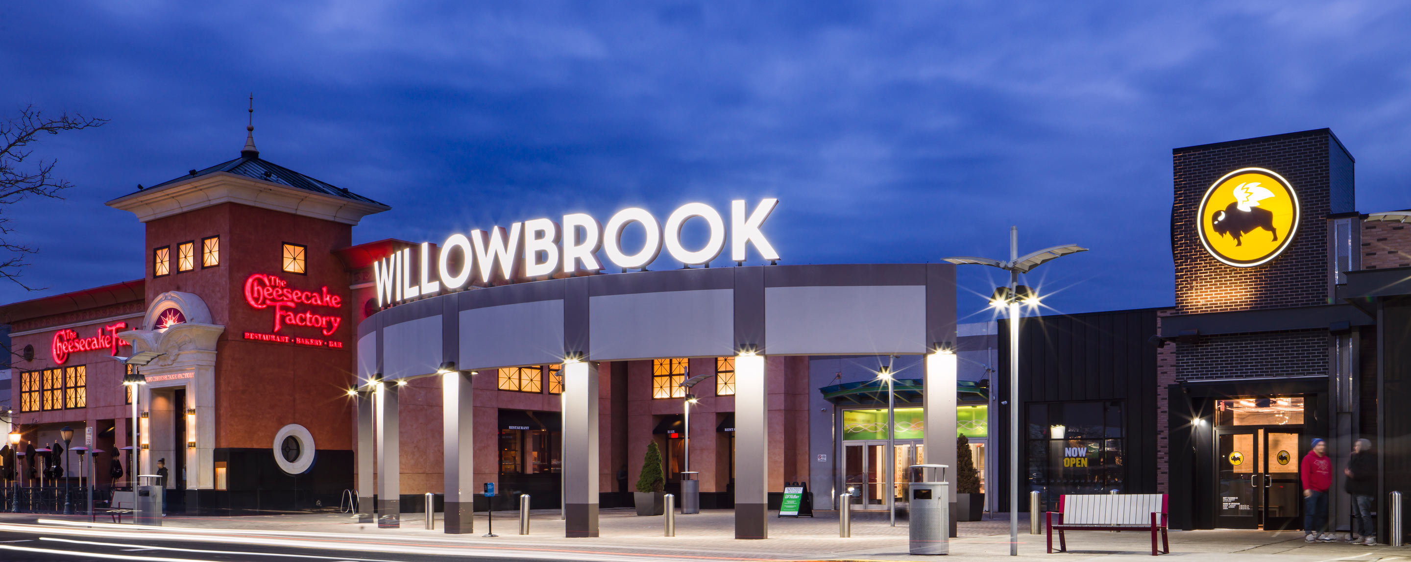 Willowbrook Entrance and Buffalo Wild Wings and Cheesecake