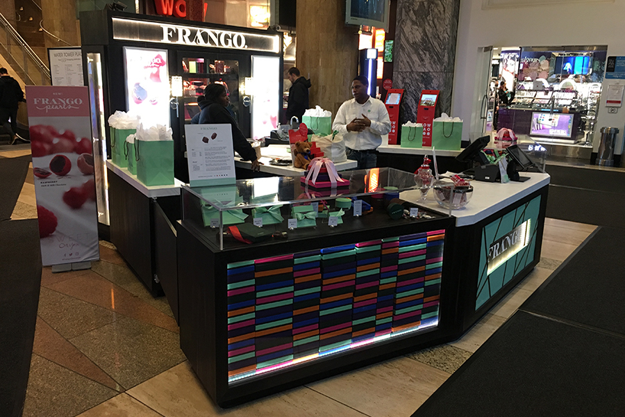 frango mint pop-up structure at mall