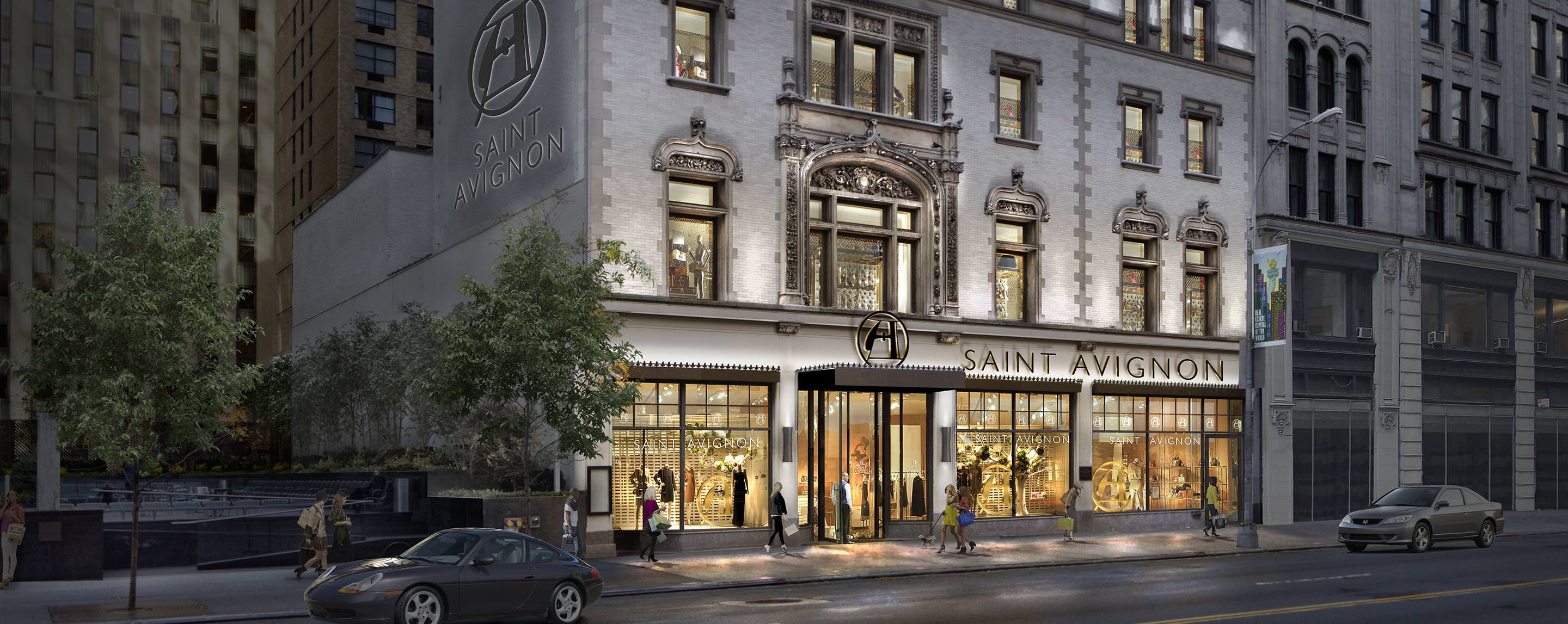 Our property on 218 W 57th Street lights up the street at dusk for shoppers passing by.