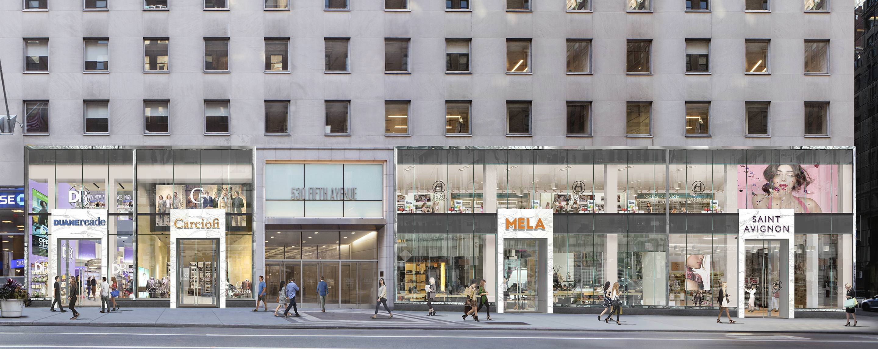 The 530 Fifth Avenue property attracts people on the street with the store fronts including Mela and Carciofi.