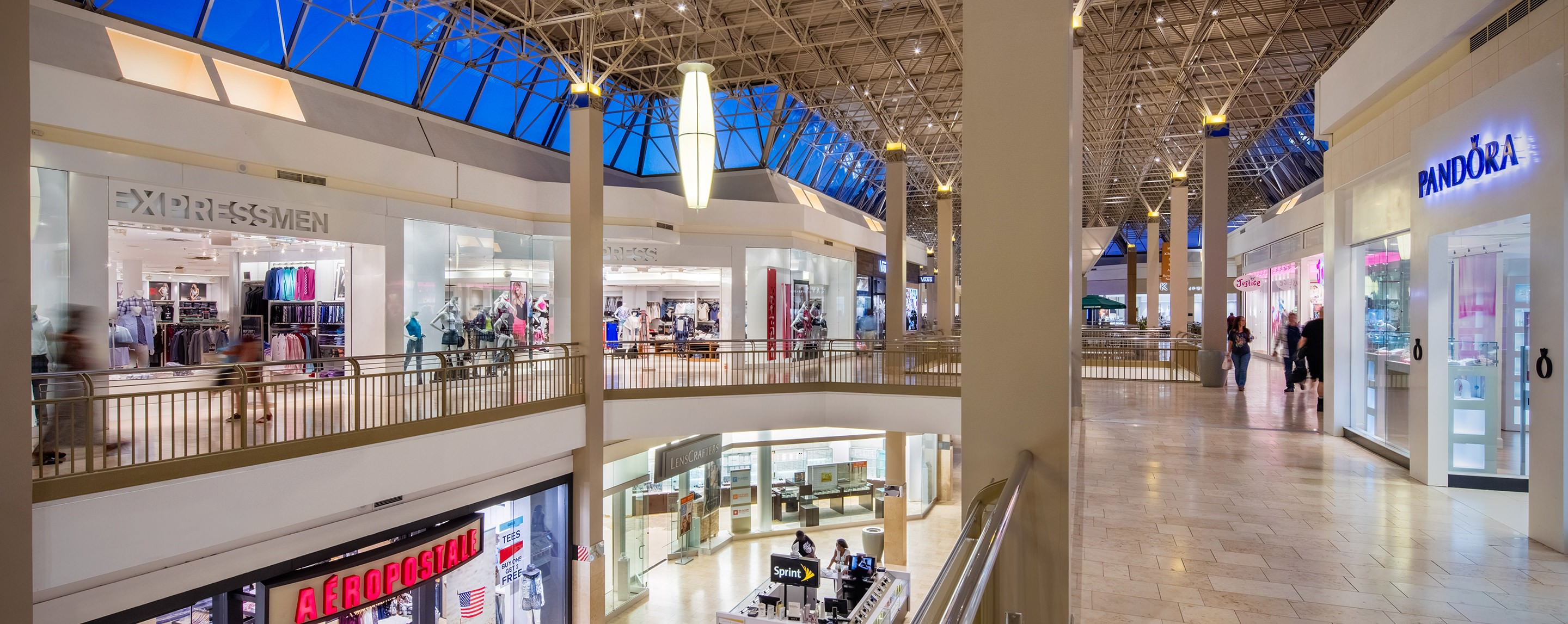Augusta Mall's interior walkways show shoppers all the storefronts and can see everything in the common area below.