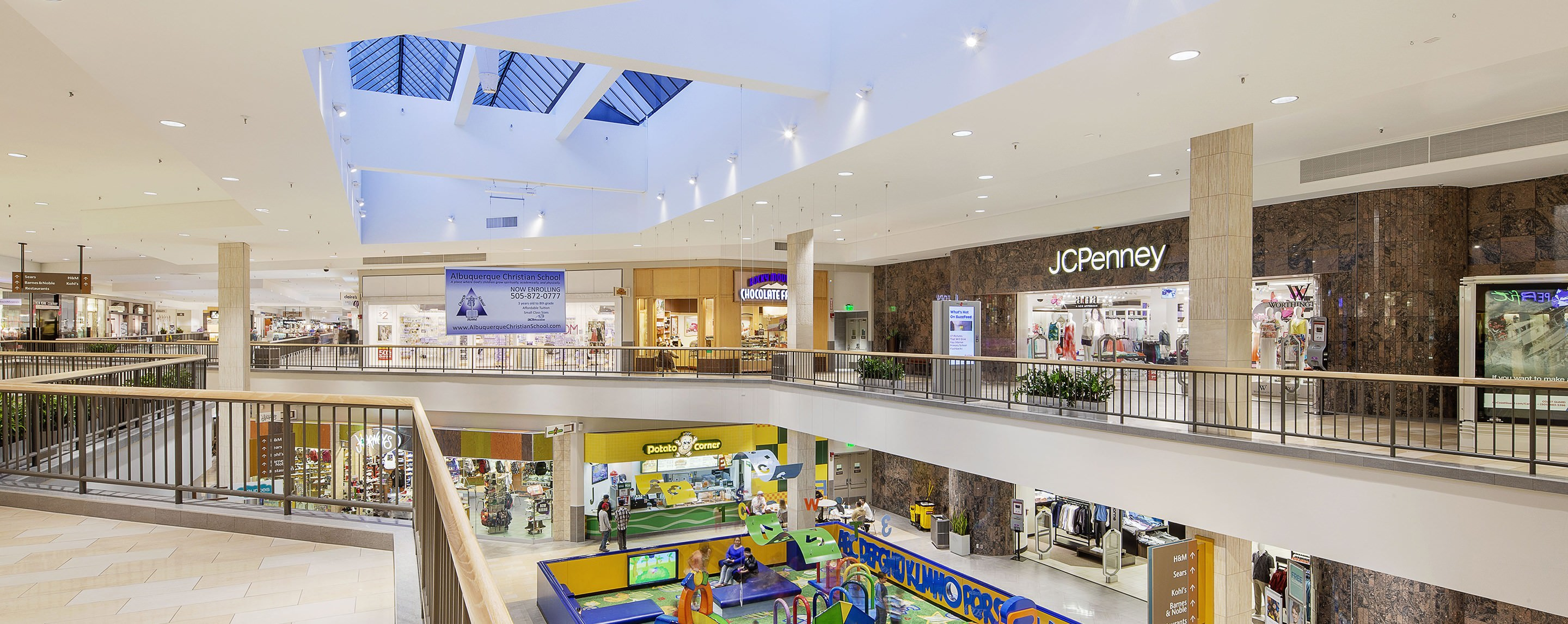 In an open area in the Coronado Center atrium, visitors can see two levels of store fronts