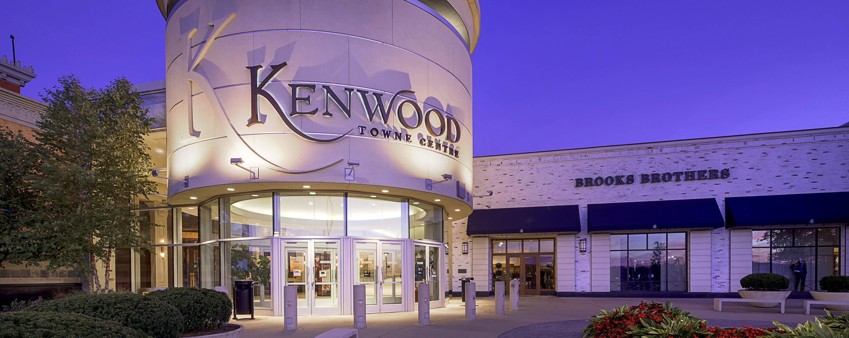 The Kenwood Town Center sign shines bright and is easily visible for shoppers to see at night.