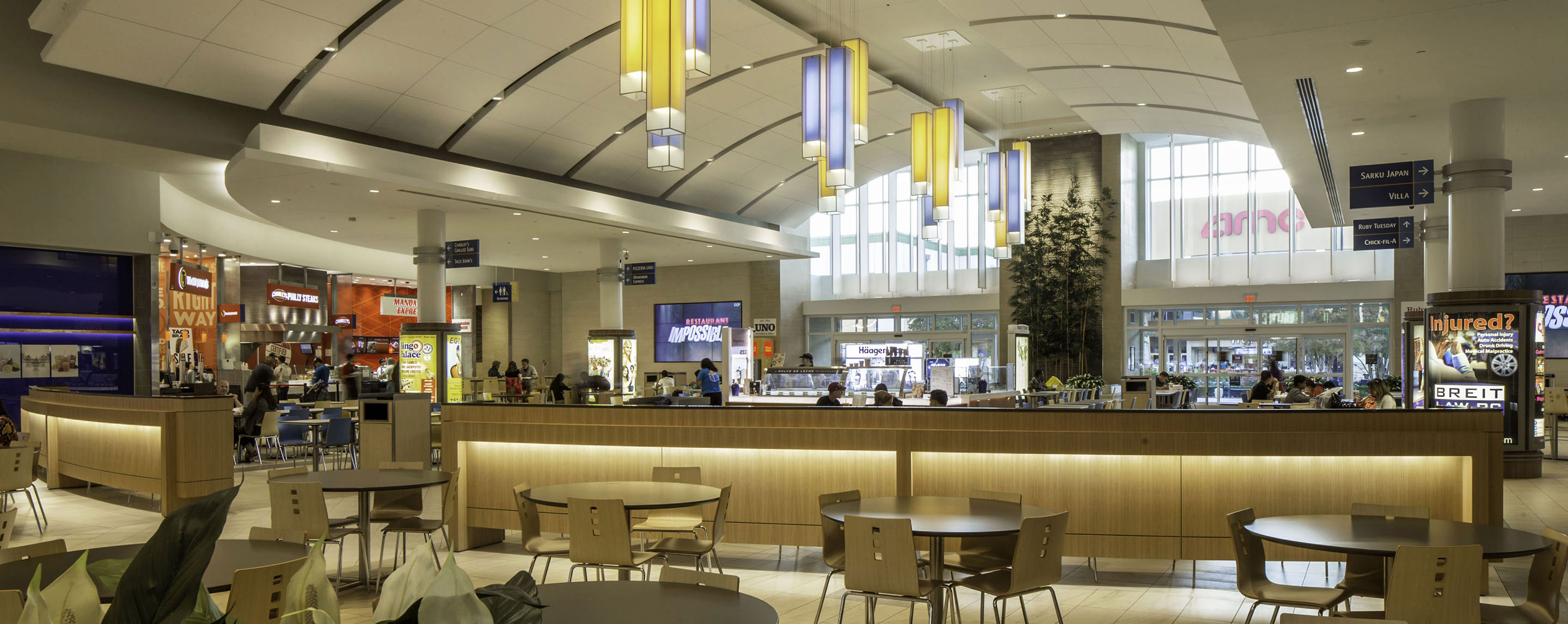 The Lynnhaven Mall's food court offers a variety of dining options for shoppers as well as plenty of places to sit and eat.