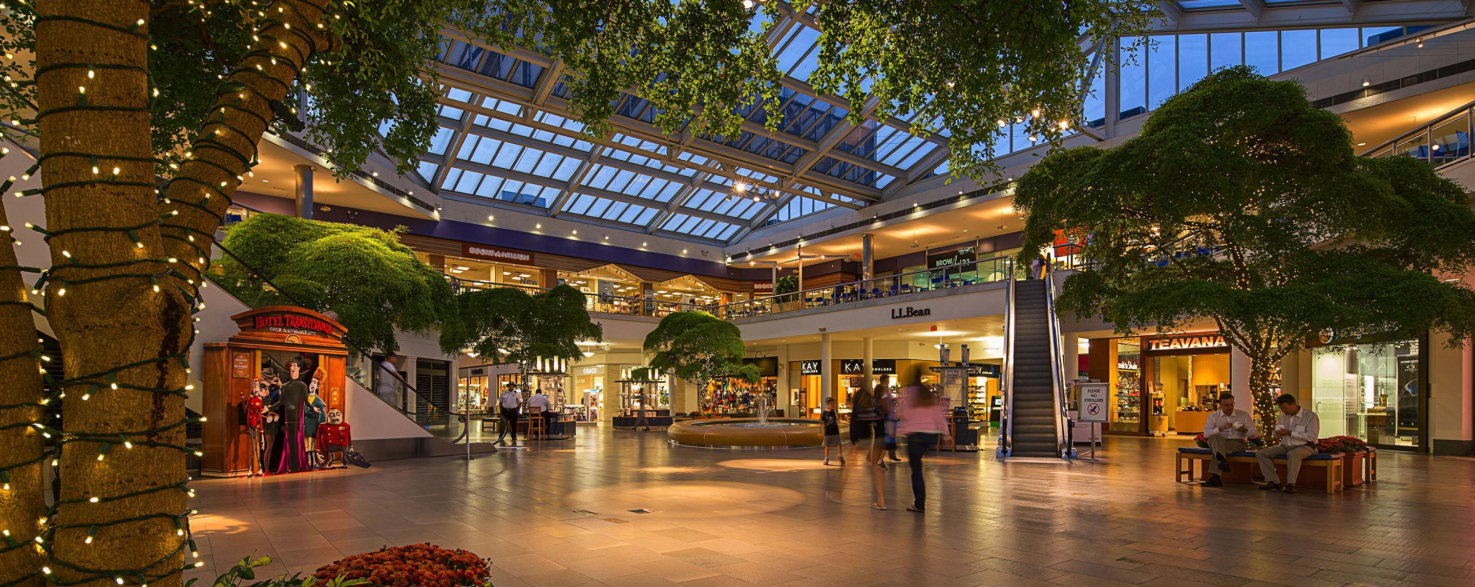Inside Paramus Park, an open common area features a seating area decorated with string lights, trees, and plants