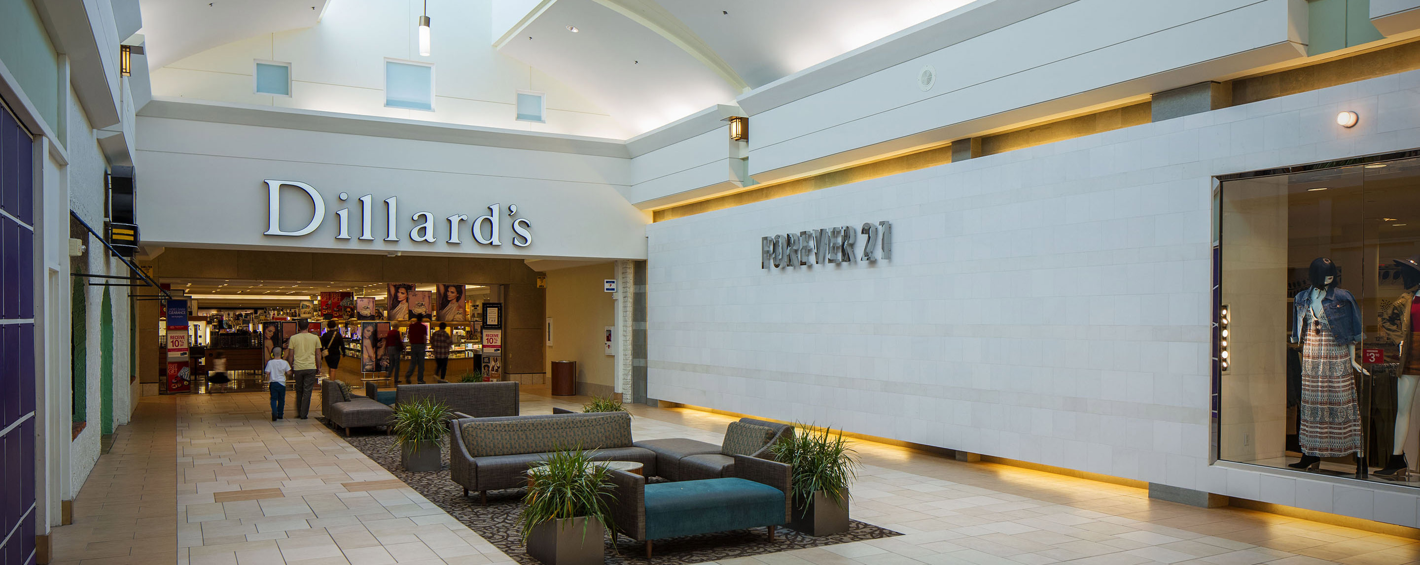 Dillard's and Forever 21 surround a comfortable common area at Sooner Mall.