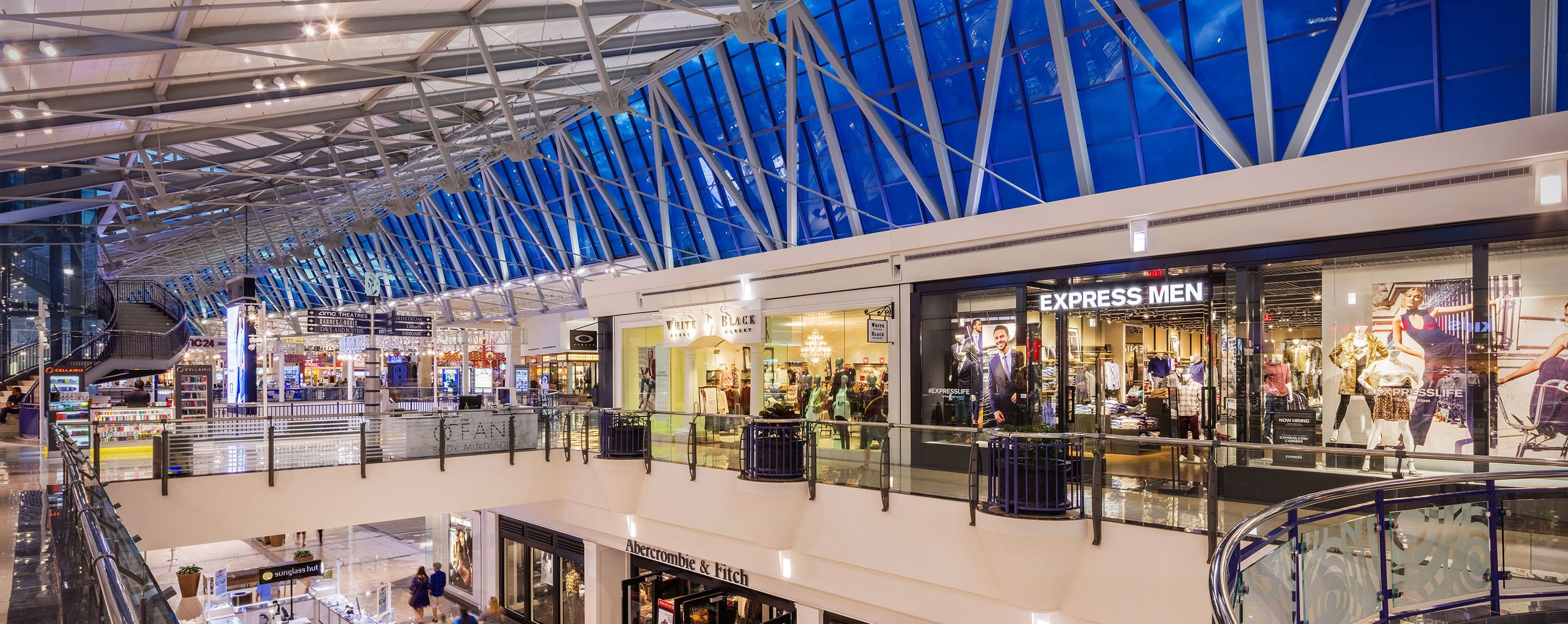 The top level of Stonebriar Centre features modern window paneling and a wide array of popular retailers.