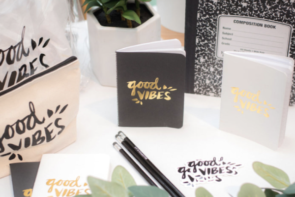 "Notebooks with ""good vibes"" written on them"