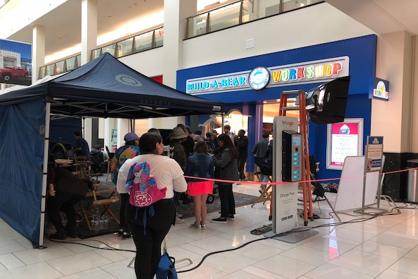 Filming occurring outside of Build a Bear Workshop