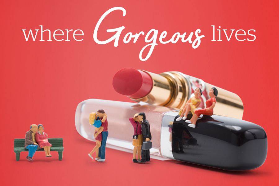 "Little figures in front of words ""Where Gorgeous Lives"""