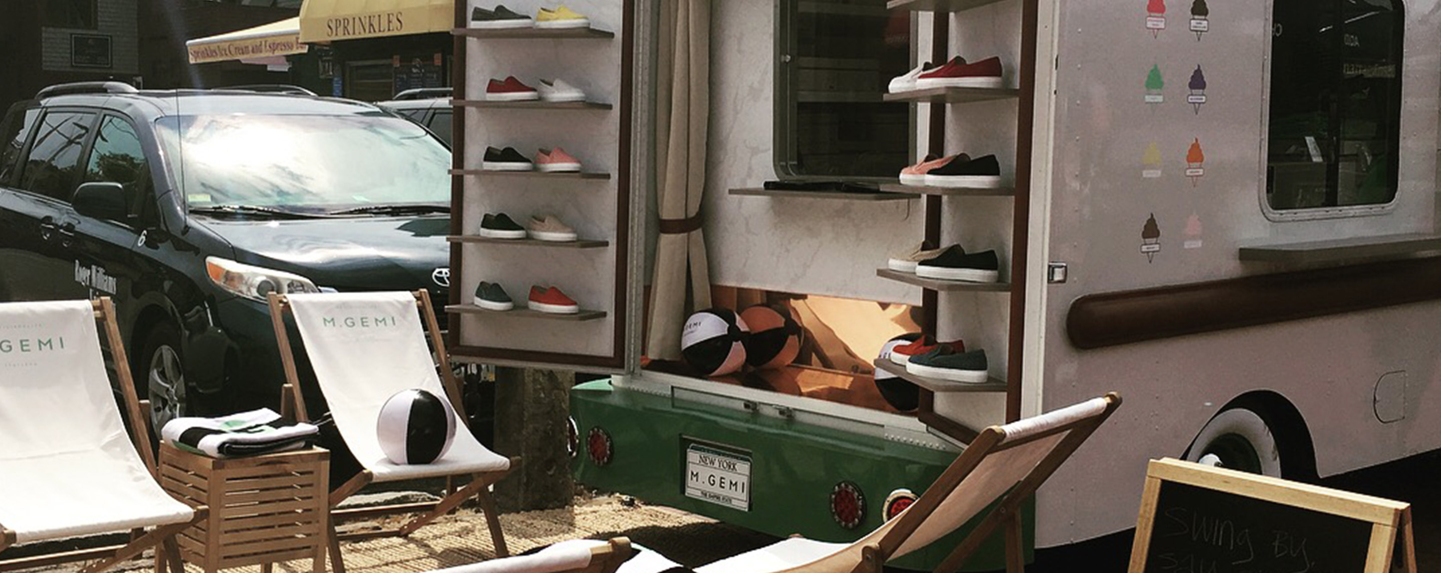 Vintage truck selling Italian shoes.