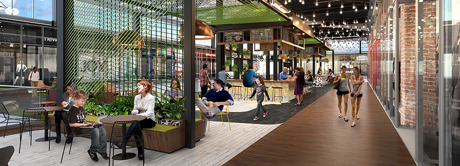 Rendering of indoor seating space at SoNo Collection