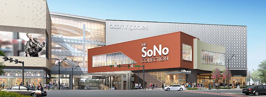 An entrance to the SoNo Collection showcases an anchor store and an open atrium