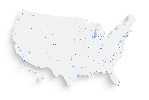 Outline of the United States with blue marks where we own properties